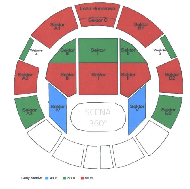 Hala Arena - sektory